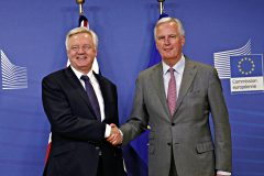 UK and EU chief negotiators David Davis and Michel Barnier