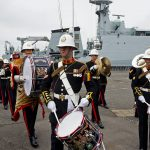Her Majesty's Band of the Royal Marines Collingwood welcome guests to the commissioning ceremony. (Photos: Geoffrey Lee)