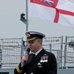 HMS Forth commanding officer, Commander Robert Laverty RN, calling the ship's company to ask for God's blessing using the ancient call: From the Gaelic Blessing of 1589.