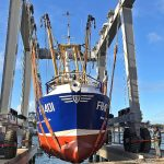 … before being returned to the water by Toms' new hydraulic ship hoist.
