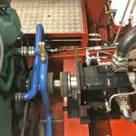 A load-sensing hydraulic pump is driven off the fore end of the main engine via a Centraflex high-speed coupling.