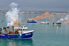 Inshore boats took part in fleet protests at Weymouth…