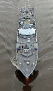 HMS Forth leaving the Clyde for Portsmouth. (Photo: Royal Navy)
