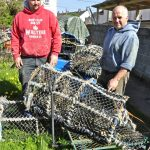 Len Walters and son Aaron each work a boat on potting and scalloping, along with a bit of netting and lining – and the occasional day spent mending pots in the sunshine.