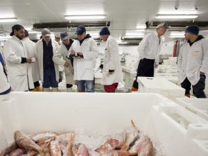 Dave Mothersill, group head chef, and Raz Helalat, owner of The Salt Room, Brighton visited Brixham fishmarket earlier this month for an educational study organised by Seafish. Image supplied by Seafish: www.seafish.org