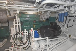 One of two Volvo Penta D7AT auxiliary engines that drive 149kVA Newage Stamford 415/3/50 generators.
