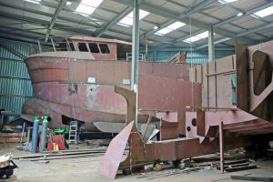Harry Green's 12m twin-rigger is in its final stages of build.