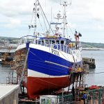 The netter Govenek of Ladram, slipped at Newlyn for its annual refit.