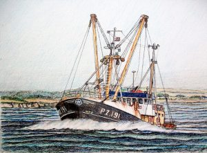 John Baird's painting of the Newlyn beamer William Sampson Stevenson PZ 191 was produced from just a couple of photos.