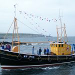 The former Whitehills seine-net boat Comet arriving at Portsoy. (Photo: Steven Milne)