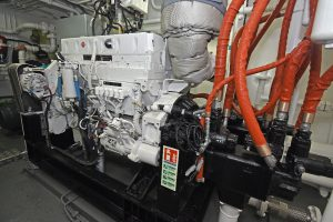 The main hydraulics are driven off the Cummins QSL9 auxiliary engine through a Centra Drive.