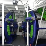 Two Thistle Marine large-capacity self-hauling rope reels lie at the heart of seine-netting activities on Achieve.