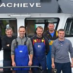 The skipper and crew of Achieve, ready for the hard work ahead. Left to right: Gary Noble, John McDonald (engineer), Leigh Gavryluk (mate), Andrew McKay, Kevin MacDonald (cook), skipper Bruce Buchan and Andrew Buchan.