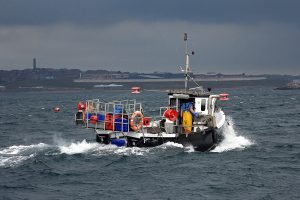 Prosperity Be heading for harbour on a morning of rapidly changeable weather.