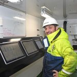 … as Andrew Lemon monitors quantities and seawater temperatures in the active storage tanks.