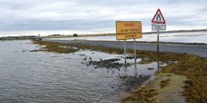 Holy Island causeway can be covered by up to 6ft of water, frequently resulting in irresponsible drivers being stranded and requiring rescue by Seahouses RNLI.