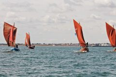 The sailing coble fleet heads out to sea from Bridlington – eight of the 10 cobles taking part in the festival captured in one frame.