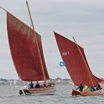 Three Brothers, built by Baker and Percy Siddall at Bridlington in 1912, and Madeleine Isabella, with mast bending, sailing at close quarters on course back to harbour.
