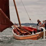 Free Spirit, one of two cobles built at Bridlington in 2014, sailing hard in North Bay.
