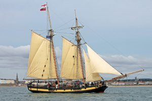 HMS Pickle looks well under sail as she joins the coble fleet.