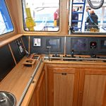 The fishing console is offset to starboard.