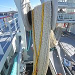 Lowering one of the two 80m braillers, supplied by KT Nets, down into the net store on the shelterdeck.