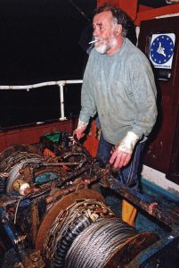 Single-handed trawlers from Newlyn often worked in a buddy system for safety, fishing fairly close together.