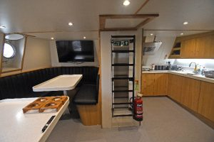 … with the spacious messdeck to starboard.