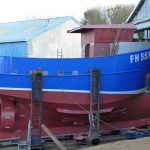 29. The completed steel hull and superstructure, ready to be towed away from Mashfords for fitting out at Mylor.