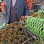 Richard Gidney of Deeside Marine, with the scallop dredges supplied by the Kirkcudbright company.