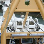 7. Four Rotzler 3t winches, two topping and two tipping, are fitted on the wheelhouse roof.