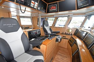 An extensive array of wheelhouse equipment was supplied and installed by David Simcox of Electrotech Marine.