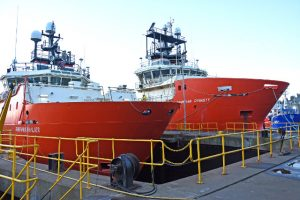 Fraserburgh drydock meets the requirements of larger classes of fishing vessels and supply boats.