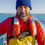 1. Peter Dadds wearing a Mullion Compact 150 lifejacket and an Ocean Signal RescueMe PLB1.
