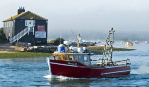 2. Mister B leaving Mudeford Quay. Now deregistered, the boat continues to be owned by retired fisherman Barry Childs (known as Mr B), who patrols the harbour as Mudeford's water bailiff.