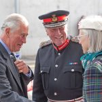 The prince is greeted by Lord Aberdeen, James Ingleby and Mrs Ingleby.