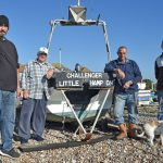 Worthing fishermen – left to right: Lee Amphlett, Norman Bashford, Nick Jenkins, Jim Phillips and Elmit the dog.