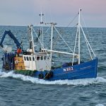 The Kilkeel boat Sea Harvester making in to Peel.