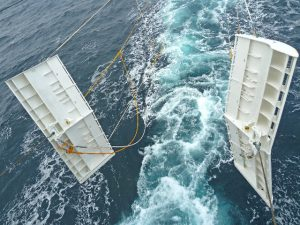 Research is using a set of Thyborøn Type 20 Slider 16m²/1,400kg trawl doors, to spread the midwater trawls.