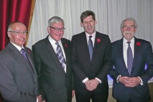 Fergus Ewing (second left) was the guest of honour at the SFF annual dinner. Also speaking were, left to right, president Ian Gatt, Lord Duncan, and chief executive Bertie Armstrong.