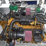 Caterpillar C32 ACERT main engine and Masson Marine 9.077:1 reduction gearbox.