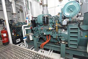 Two Mitsubishi 6D16T auxiliary engines drive 100ekW Newage Stamford 415/3/50 generators.