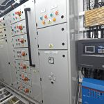 A Sonic 8 system and Victron inverter are positioned to starboard of the main electrical switchboards in the engineroom.