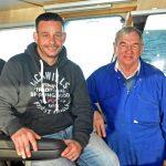 Ian and Charles Duthie in Uberous' wheelhouse.
