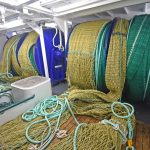 Faithlie Trawl and Fidelis Nets made the low-standing twin-rig prawn trawls Uberous is towing now.