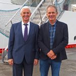 Western Chieftain skipper Charlie Doherty with Tage Rishøj of Karstensens Shipyard.