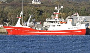 Western Chieftain landing her first shot of mackerel at Killybegs, ahead of Girl Stephanie.