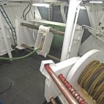 Three BOPP split pair-seine trawl winches are housed in a winch room across the fore end of the trawl deck.