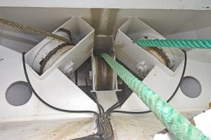 … in the forward winch room, from which three rollers lead the warps under the wheelhouse floor.
