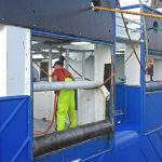 Hydraulically operated stern doors can be raised to close off the twin-deck trawl tracks on the shelterdeck.